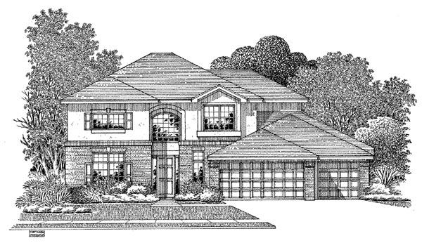 European House Plan 54907 with 5 Beds, 3 Baths, 3 Car Garage Elevation