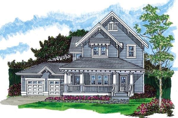 Farmhouse House Plan 55488 with 3 Beds, 2 Baths, 2 Car Garage Elevation