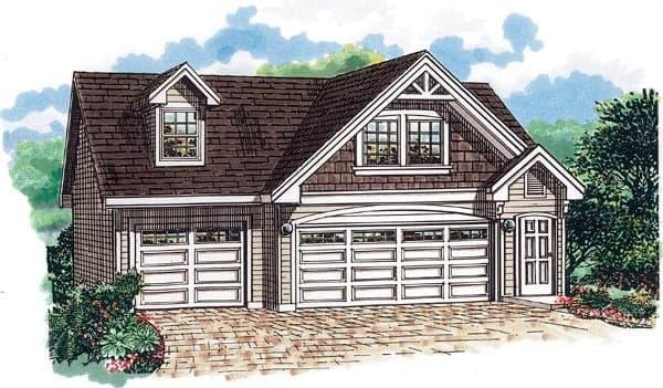 Cape Cod 3 Car Garage Apartment Plan 55547 with 1 Beds, 1 Baths Elevation