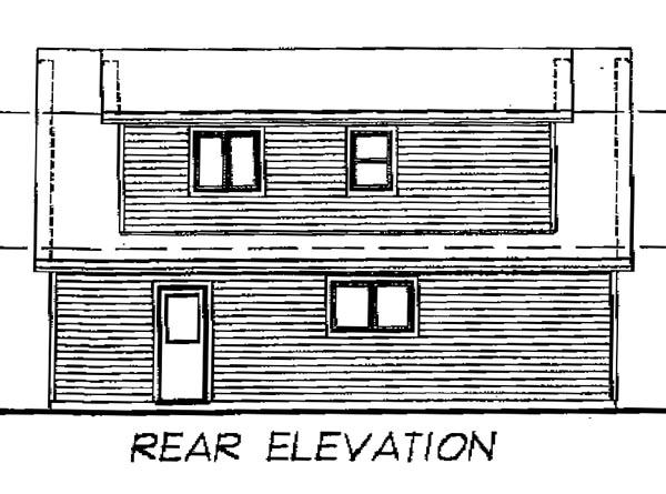 Cape Cod 3 Car Garage Apartment Plan 55547 with 1 Beds, 1 Baths Rear Elevation
