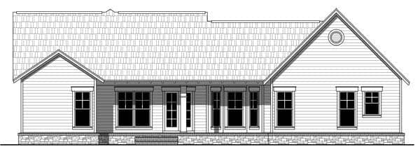 Cottage, Country, Craftsman, Southern House Plan 55600 with 3 Beds, 2 Baths, 2 Car Garage Rear Elevation