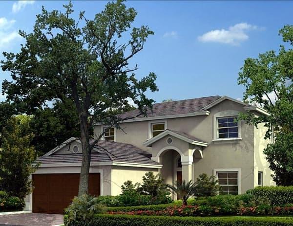 Florida, Narrow Lot House Plan 55814 with 3 Beds, 3 Baths, 2 Car Garage Elevation