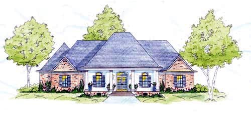 European, One-Story House Plan 56286 with 4 Beds, 2 Baths, 3 Car Garage Elevation
