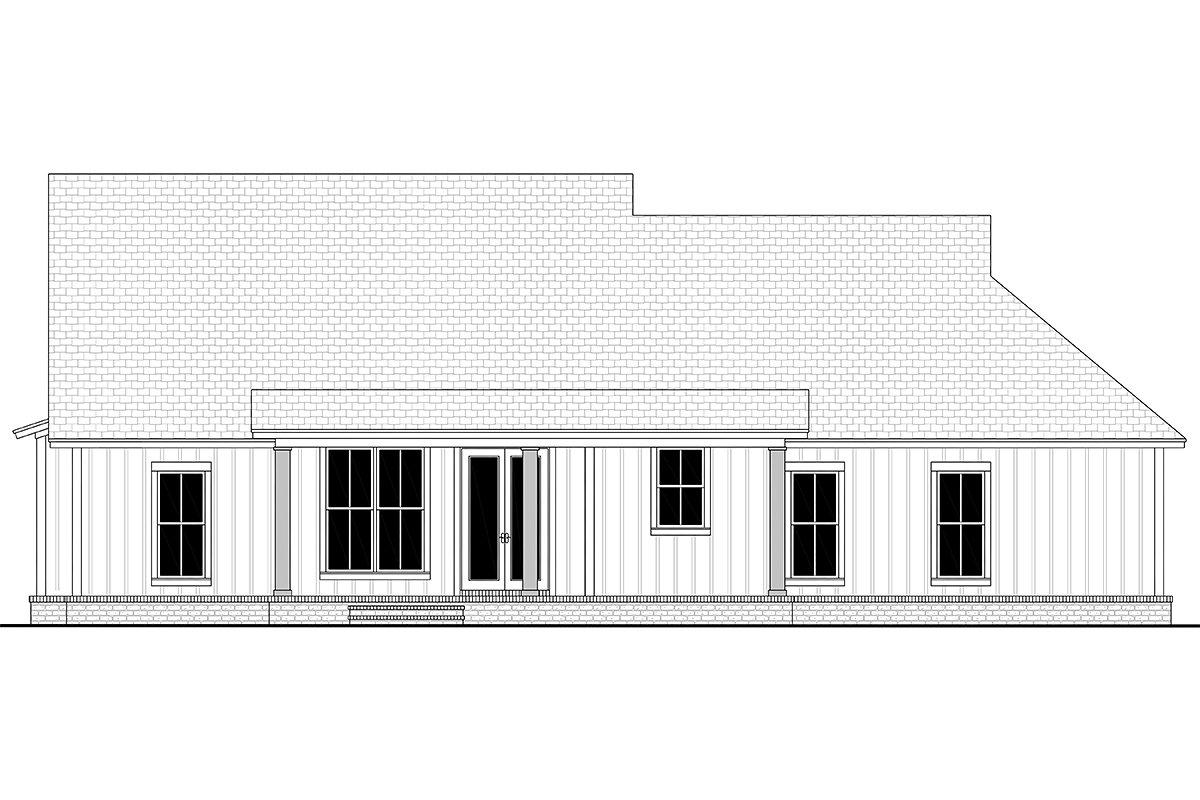 Country, Farmhouse, One-Story, Traditional House Plan 56715 with 3 Beds, 2 Baths, 2 Car Garage Rear Elevation