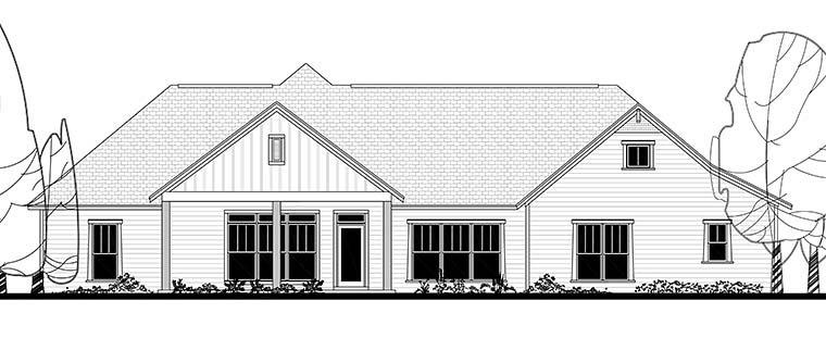 Country, Craftsman, Traditional House Plan 56927 with 4 Beds, 4 Baths, 2 Car Garage Rear Elevation