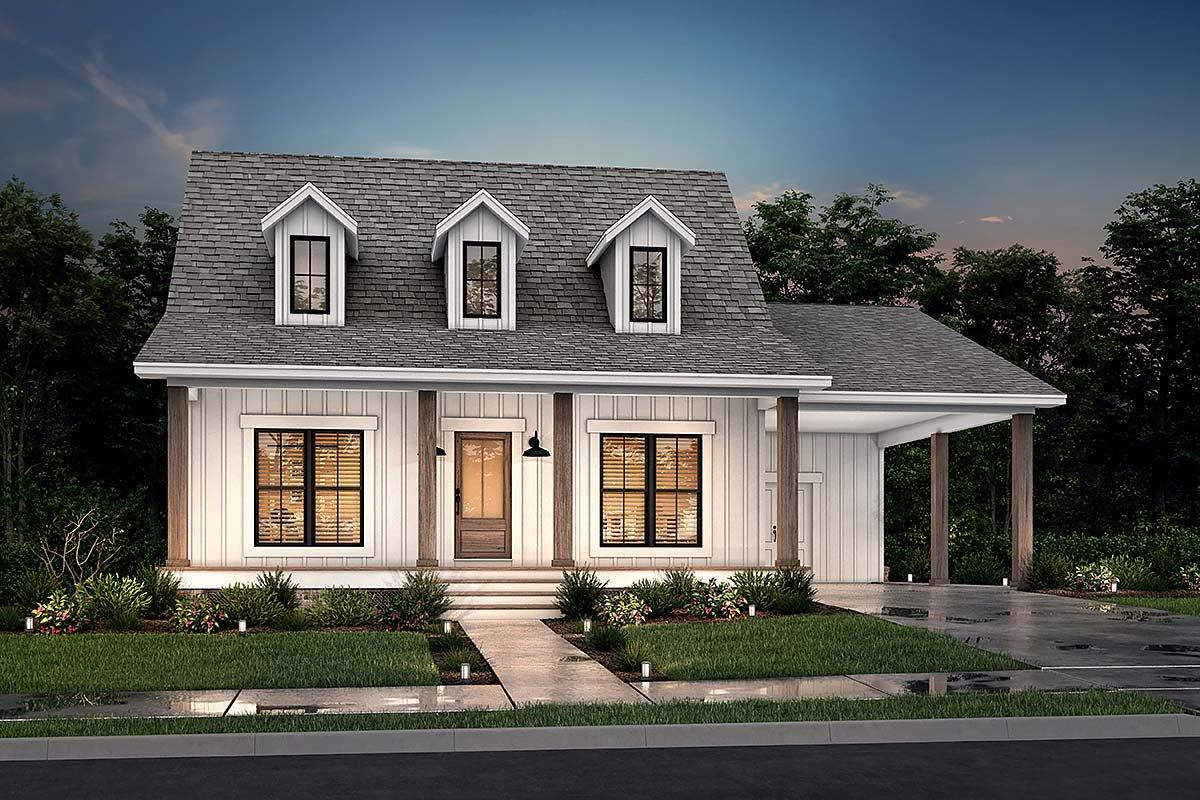 Cabin, Country, Southern House Plan 56932 with 2 Beds, 2 Baths, 1 Car Garage Elevation