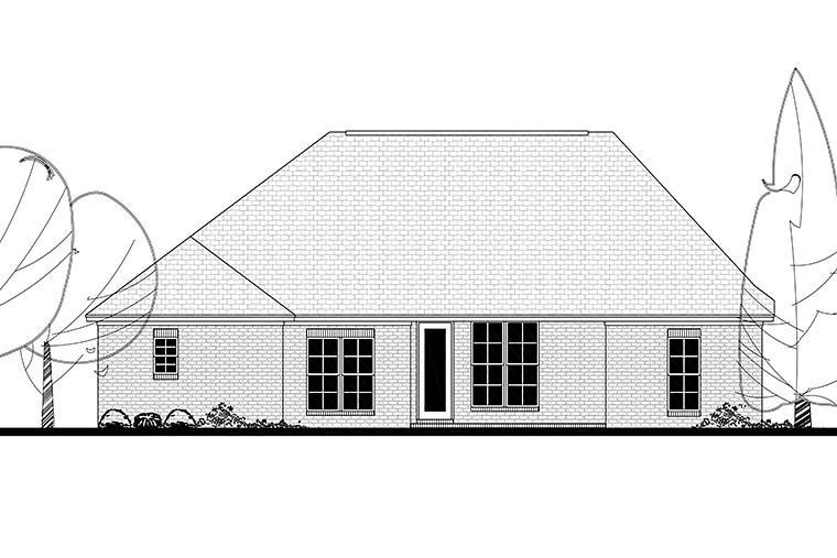 Country, French Country, Traditional House Plan 56998 with 3 Beds, 2 Baths, 2 Car Garage Rear Elevation