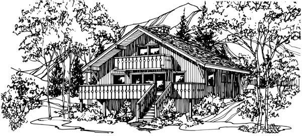 House Plan 57548 with 3 Beds, 2 Baths Elevation