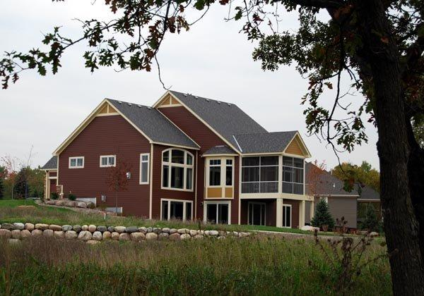 Cottage, Country, European, Traditional House Plan 57562 with 3 Beds, 3 Baths, 3 Car Garage Rear Elevation