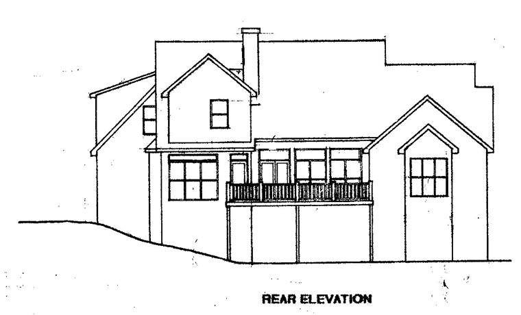 Cape Cod House Plan 58086 with 4 Beds, 4 Baths, 2 Car Garage Rear Elevation