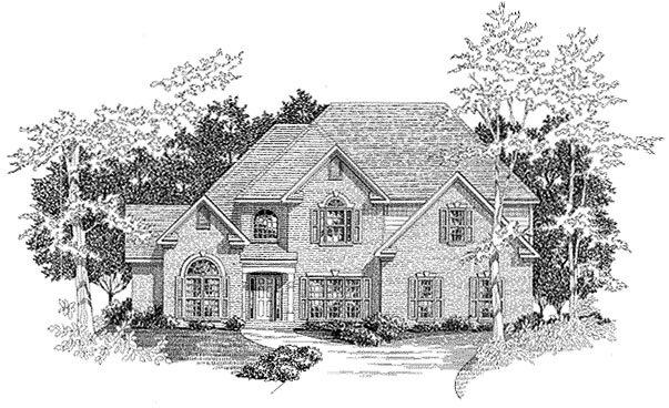 European House Plan 58149 with 4 Beds, 3.5 Baths, 3 Car Garage Elevation