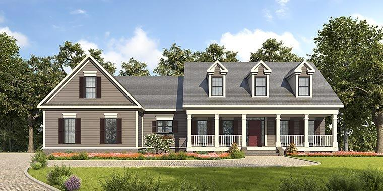 Country, Southern House Plan 58288 with 3 Beds, 3 Baths, 2 Car Garage Elevation