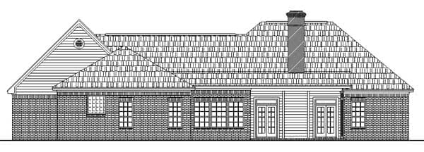 European, Ranch, Traditional House Plan 59026 with 3 Beds, 2 Baths, 2 Car Garage Rear Elevation