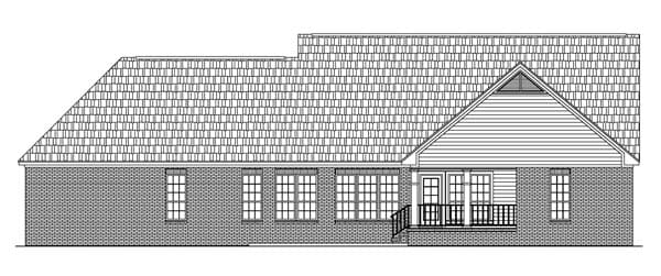 Ranch, Traditional House Plan 59073 with 3 Beds, 4 Baths, 2 Car Garage Rear Elevation