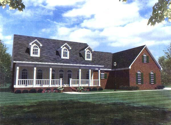 Country, Ranch, Southern House Plan 59094 with 3 Beds, 3 Baths, 2 Car Garage Elevation