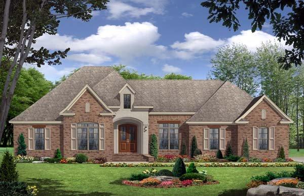 European, French Country, Traditional House Plan 59117 with 3 Beds, 3 Baths, 2 Car Garage Elevation