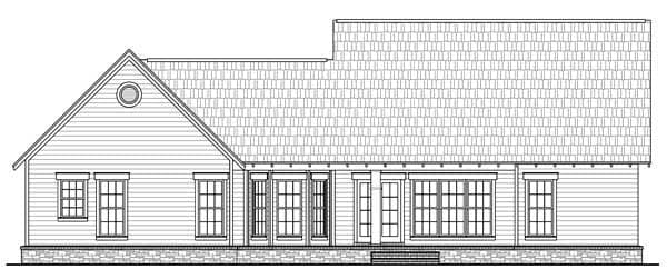 Bungalow, Craftsman House Plan 59148 with 3 Beds, 2 Baths, 2 Car Garage Rear Elevation