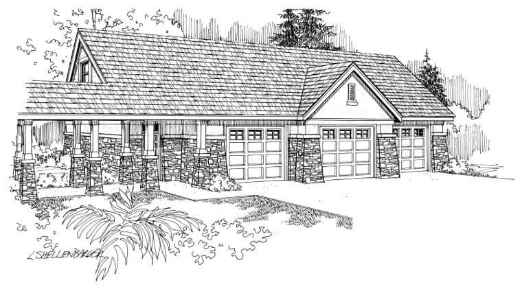 European, Traditional 3 Car Garage Apartment Plan 59451 Elevation