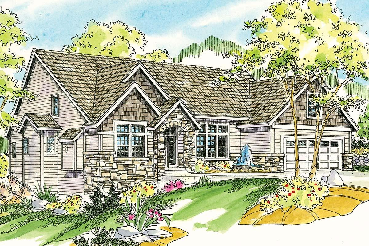 Contemporary, Cottage, European House Plan 59746 with 3 Beds, 3 Baths, 2 Car Garage Elevation