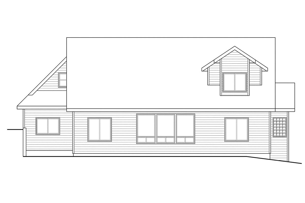 Contemporary, Cottage, European House Plan 59746 with 3 Beds, 3 Baths, 2 Car Garage Rear Elevation