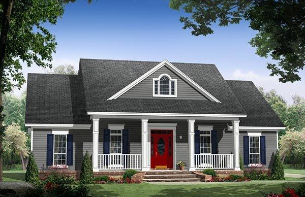 Colonial, Country, Ranch, Traditional House Plan 59976 with 3 Beds, 2 Baths, 2 Car Garage Elevation