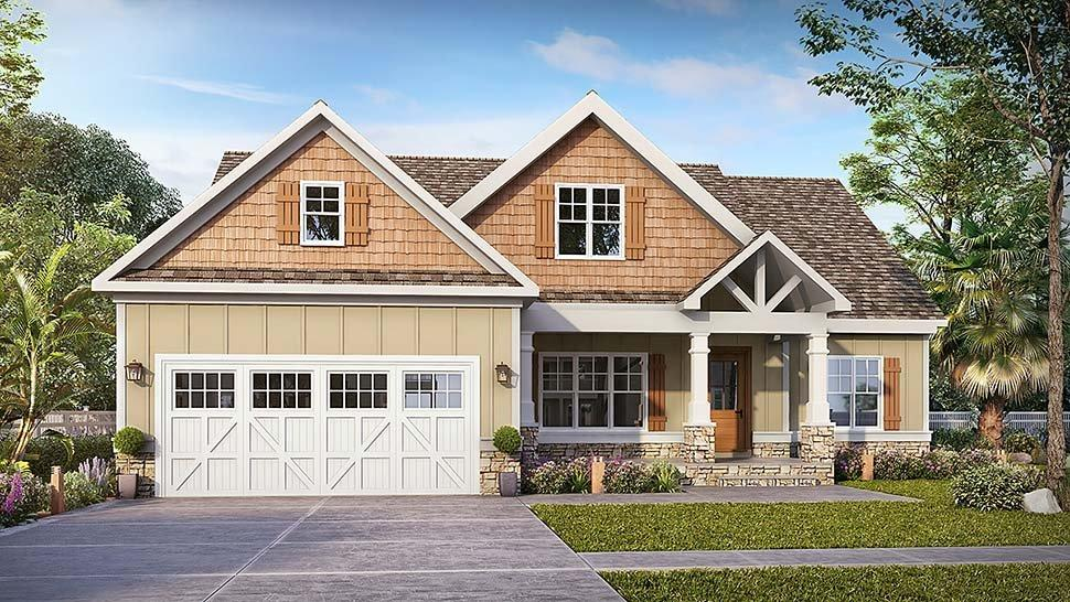Craftsman, Traditional House Plan 60068 with 3 Beds, 3 Baths, 2 Car Garage Elevation