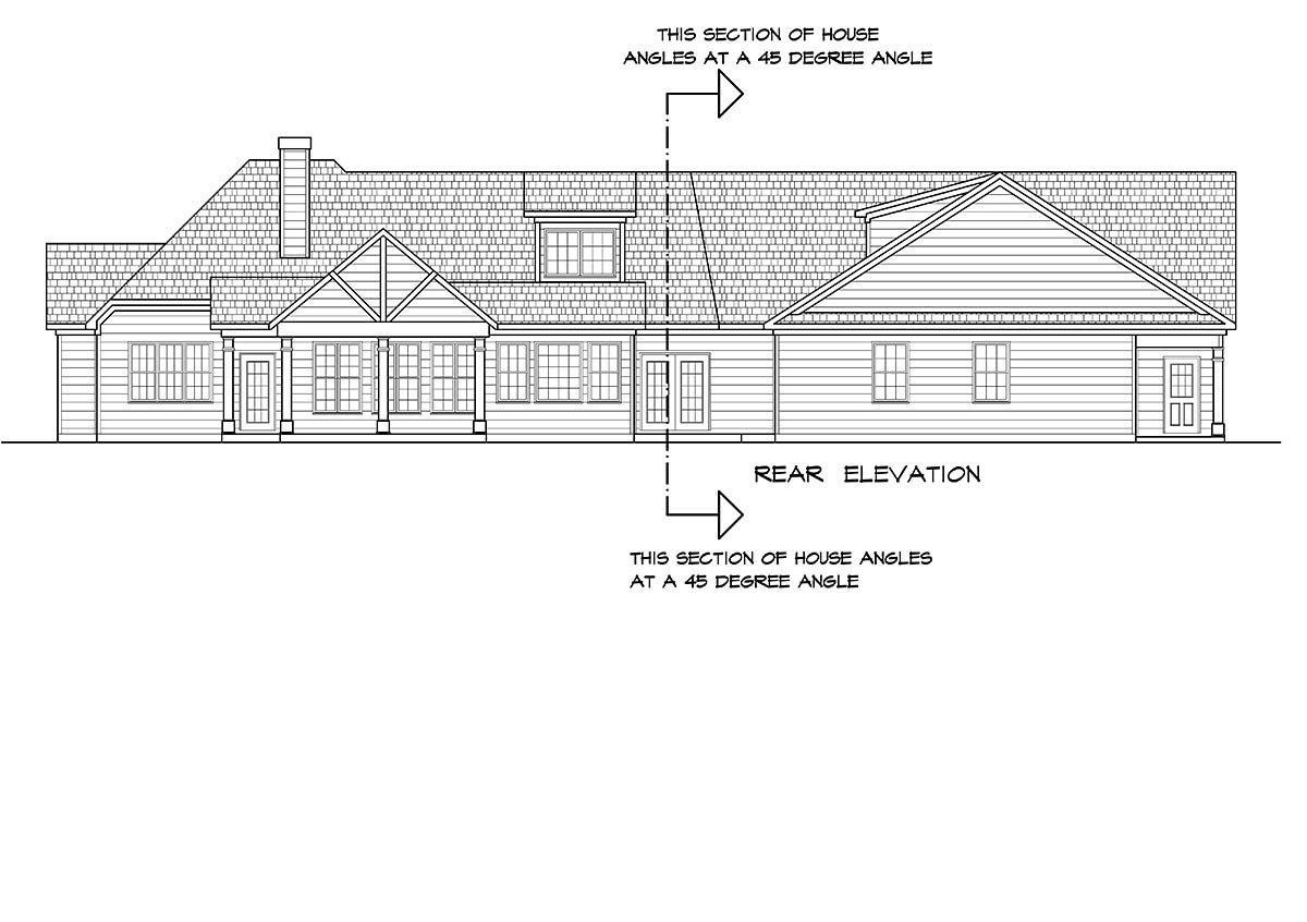 Craftsman House Plan 60077 with 4 Beds, 4 Baths, 3 Car Garage Rear Elevation