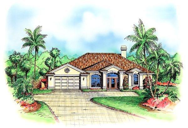 Florida House Plan 60775 with 3 Beds, 3 Baths, 2 Car Garage Elevation
