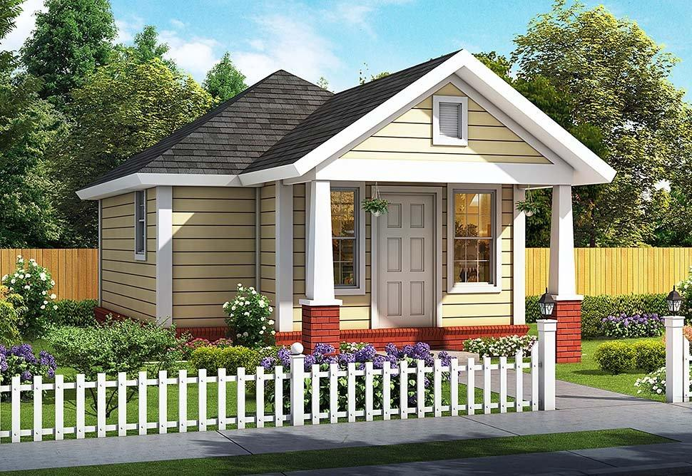 Cottage, Traditional House Plan 61482 with 1 Beds, 1 Baths Elevation