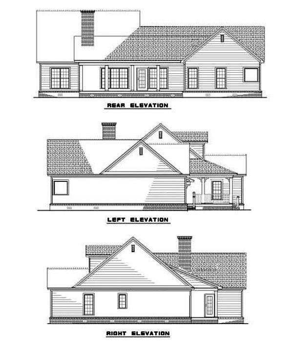 Country, Southern, Traditional House Plan 62084 with 3 Beds, 2 Baths, 2 Car Garage Rear Elevation