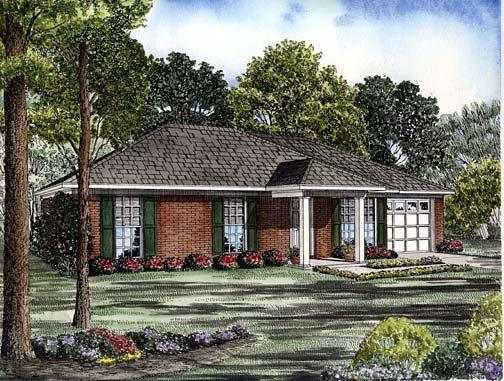 One-Story House Plan 62242 with 3 Beds, 2 Baths, 1 Car Garage Elevation