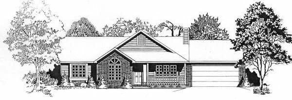 One-Story, Ranch House Plan 62547 with 3 Beds, 2 Baths, 2 Car Garage Elevation