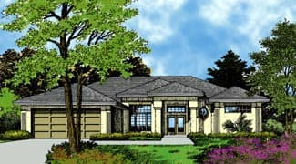 Contemporary, Florida, Mediterranean House Plan 63250 with 4 Beds, 3 Baths, 2 Car Garage Elevation