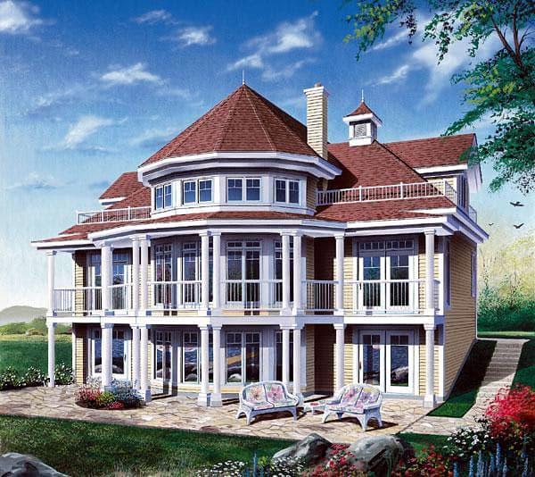 Coastal, Victorian House Plan 64807 with 4 Beds, 2 Baths, 1 Car Garage Elevation