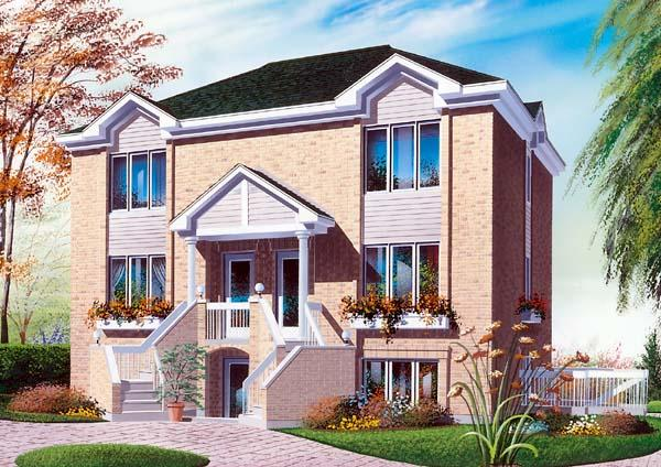Multi-Family Plan 64905 with 6 Beds, 5 Baths Elevation