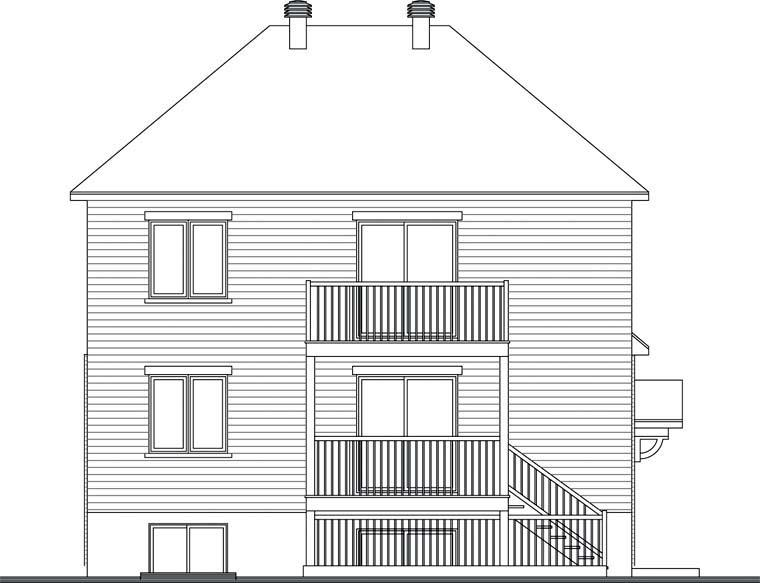 Multi-Family Plan 64936 with 6 Beds, 3 Baths Rear Elevation