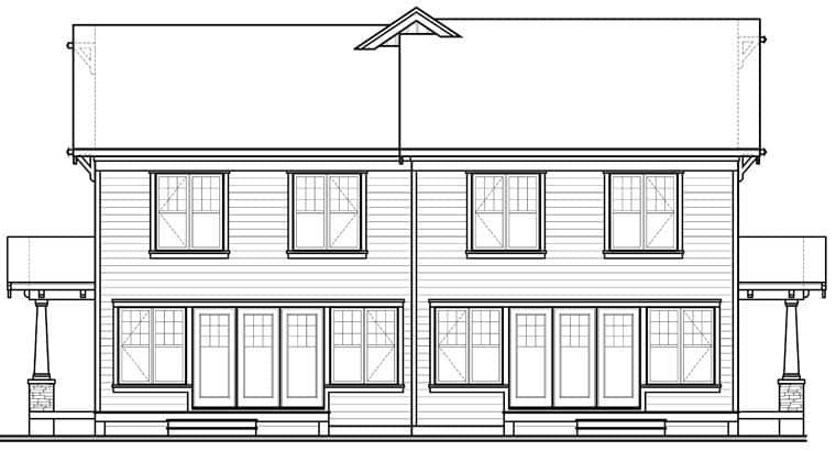 Craftsman Multi-Family Plan 65559 with 6 Beds, 4 Baths, 2 Car Garage Rear Elevation