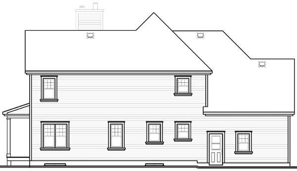 Country, Farmhouse, Traditional House Plan 65581 with 4 Beds, 3 Baths, 2 Car Garage Rear Elevation