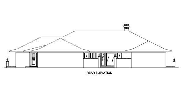 Contemporary, Prairie, Southwest House Plan 65606 with 4 Beds, 4 Baths, 3 Car Garage Rear Elevation