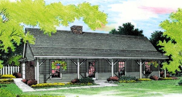 Cabin, Country, Ranch House Plan 65648 with 3 Beds, 2 Baths, 2 Car Garage Elevation