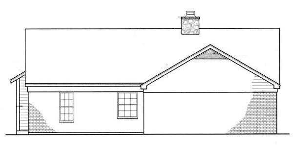 Cabin, Country, Ranch House Plan 65648 with 3 Beds, 2 Baths, 2 Car Garage Rear Elevation