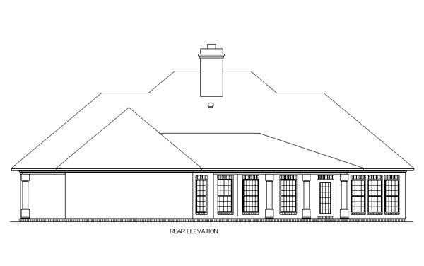 Country, One-Story, Traditional House Plan 65697 with 3 Beds, 2 Baths, 2 Car Garage Rear Elevation