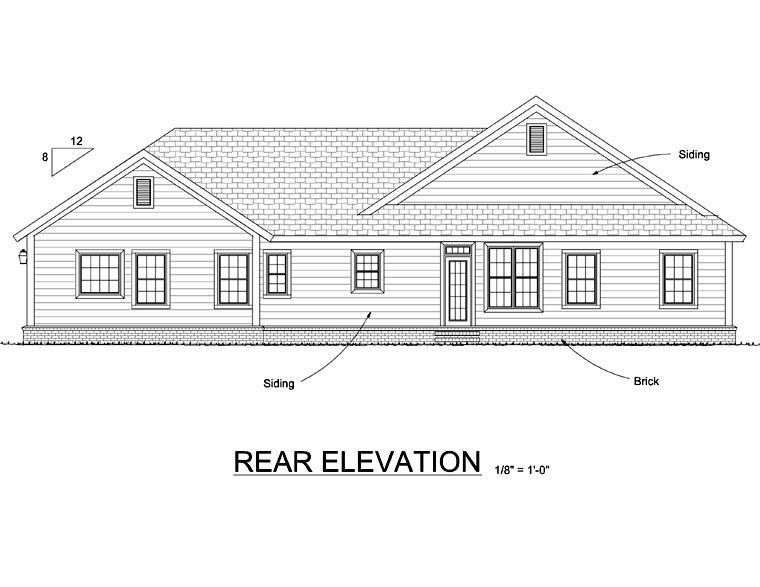 Traditional House Plan 66534 with 4 Beds, 3 Baths, 2 Car Garage Rear Elevation