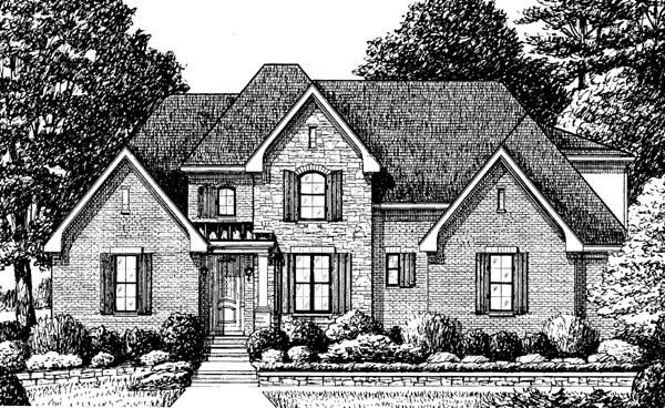 Traditional House Plan 67138 with 4 Beds, 3 Baths, 2 Car Garage Elevation