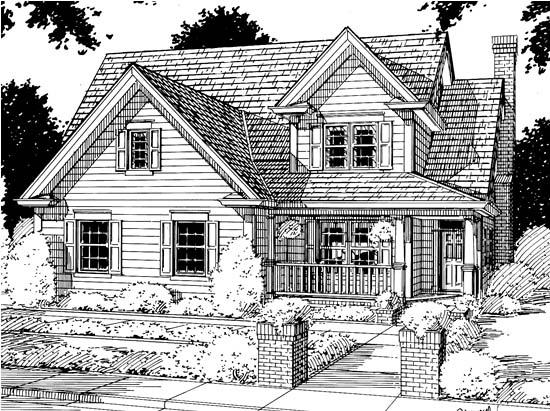 Country, Farmhouse House Plan 68347 with 3 Beds, 3 Baths, 2 Car Garage Elevation