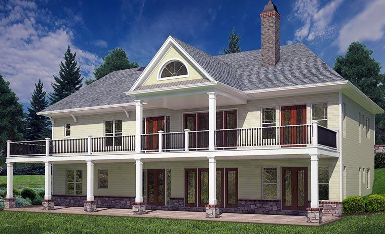 Cottage, Craftsman, Traditional House Plan 72220 with 4 Beds, 4 Baths, 2 Car Garage Rear Elevation