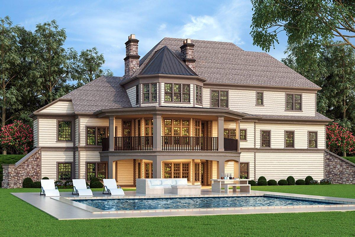 Country, European, French Country House Plan 72249 with 4 Beds, 4 Baths, 3 Car Garage Rear Elevation