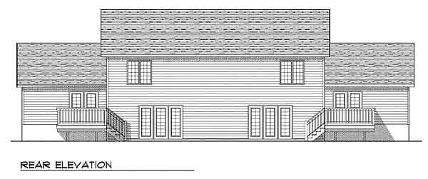 Traditional Multi-Family Plan 73475 with 6 Beds, 6 Baths, 4 Car Garage Rear Elevation