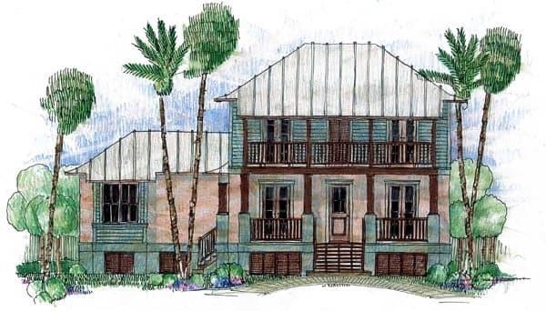 Coastal, Florida, Southern House Plan 73620 with 4 Beds, 3 Baths, 2 Car Garage Elevation
