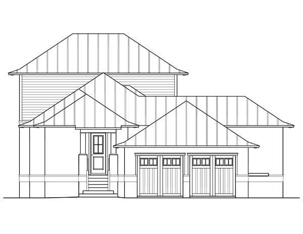 Coastal, Florida, Southern House Plan 73620 with 4 Beds, 3 Baths, 2 Car Garage Rear Elevation